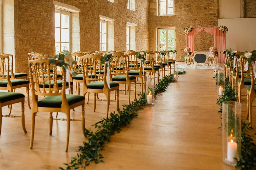 arche de ceremonie laique rose mariage