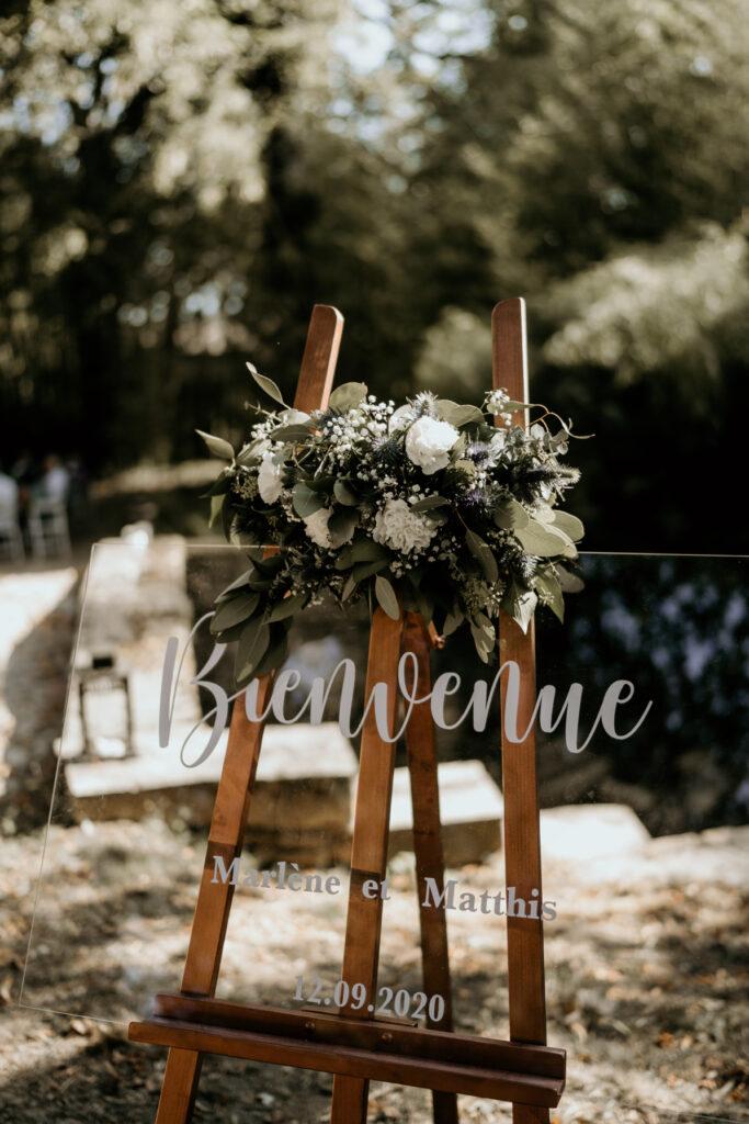 panneau de bienvenue plexi lyon wedding planner lyon organisation mariage beaujolais