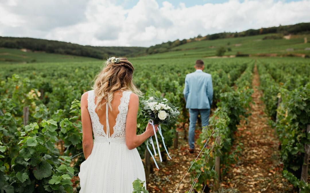 Se marier en Champagne : First view dans les vignes