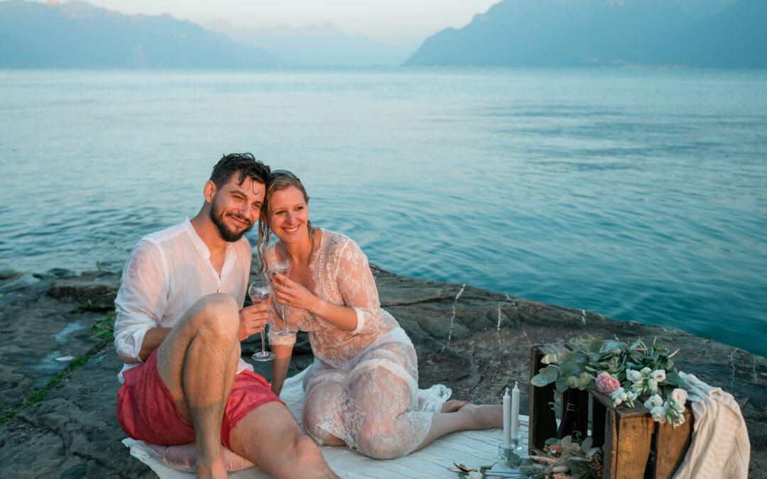 Un pique-nique au bord du lac pour votre renouvellement de vœux